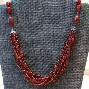 Jewelry - Berry red multi strand beaded necklace